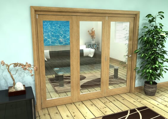 Glazed Oak Prefinished 3 Door Roomfold Grande (3 + 0 x 762mm Doors)