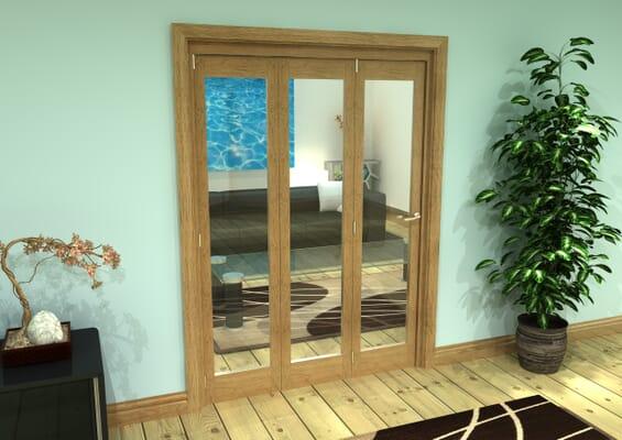 Glazed Oak Prefinished 4 Door Roomfold Grande (3 + 1 x 457mm Doors)
