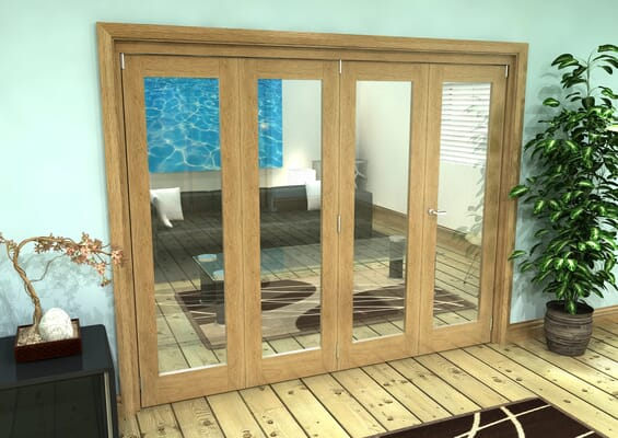 Glazed Oak Prefinished 4 Door Roomfold Grande 2400mm 3 + 1 Set