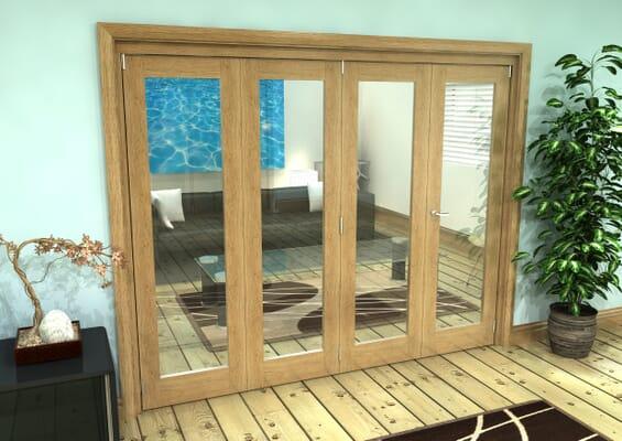 Glazed Oak Prefinished 4 Door Roomfold Grande (3 + 1 x 610mm Doors)