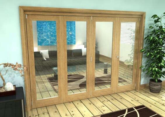 Glazed Oak Prefinished 4 Door Roomfold Grande (3 + 1 x 686mm Doors)