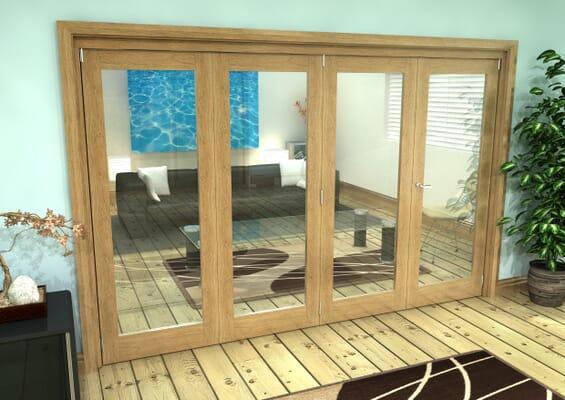 Glazed Oak Prefinished 4 Door Roomfold Grande (3 + 1 x 762mm Doors)