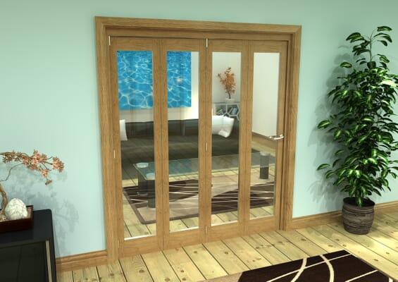 Glazed Oak Prefinished 4 Door Roomfold Grande (4 + 0 x 419mm Doors)