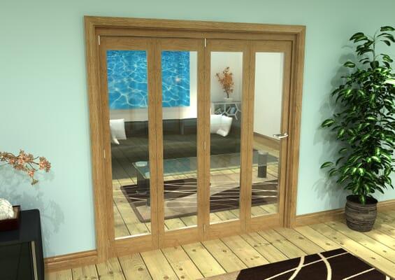 Glazed Oak Prefinished 4 Door Roomfold Grande (4 + 0 x 457mm Doors)