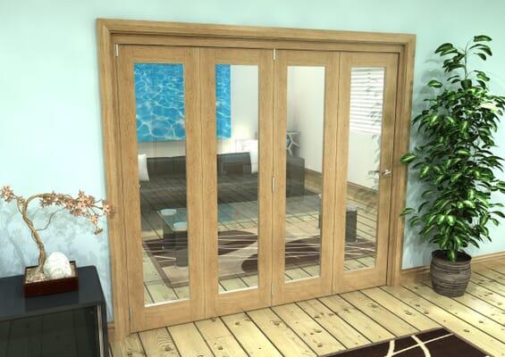Glazed Oak Prefinished 4 Door Roomfold Grande 2400mm 4 + 0 Set