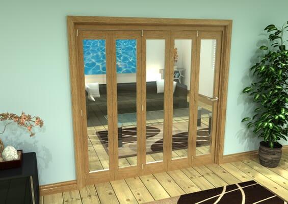 Glazed Oak Prefinished 5 Door Roomfold Grande (5 + 0 x 381mm Doors)