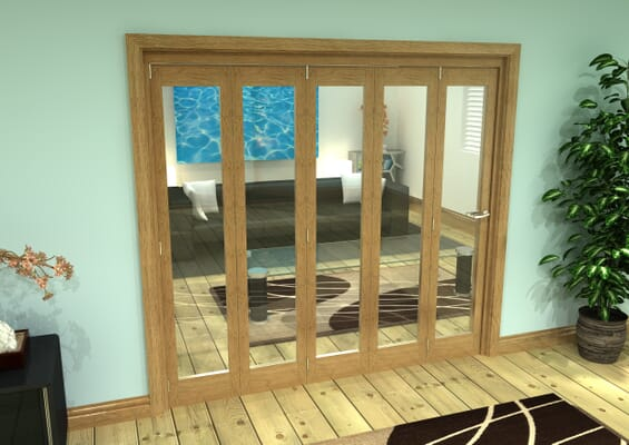 Glazed Oak Prefinished 5 Door Roomfold Grande (5 + 0 x 419mm Doors)