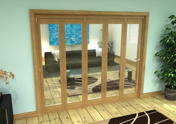 Glazed Oak Prefinished 5 Door Roomfold Grande (5 + 0 x 457mm Doors)