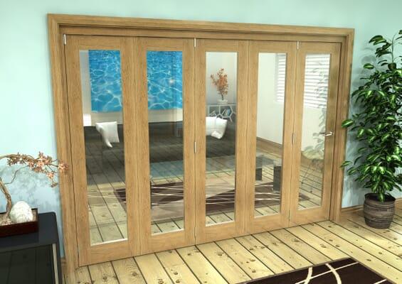 Glazed Oak Prefinished 5 Door Roomfold Grande 3000mm 5 + 0 Set