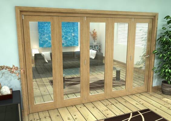 Glazed Oak Prefinished 5 Door Roomfold Grande (5 + 0 x 686mm Doors)