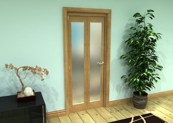 Frosted Glazed Oak Prefinished 2 Door Roomfold Grande (2 + 0 x 381mm Doors)