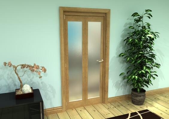 Frosted Glazed Oak Prefinished 2 Door Roomfold Grande (2 + 0 x 419mm Doors)