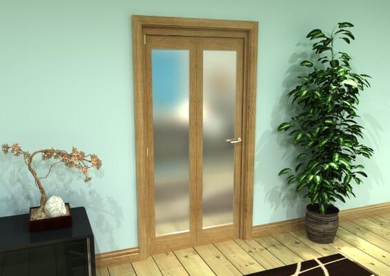 Frosted Glazed Oak Prefinished 2 Door Roomfold Grande (2 + 0 x 457mm Doors)
