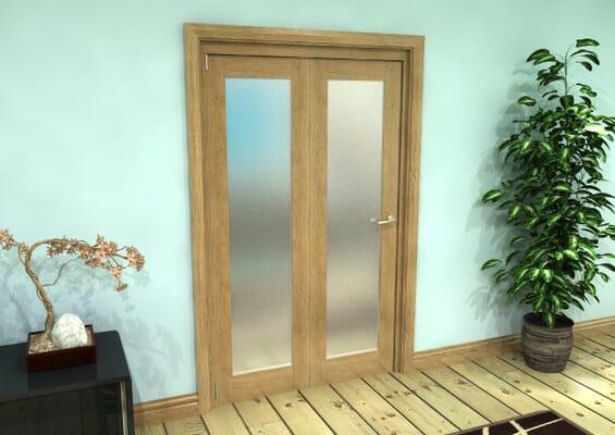 Frosted Glazed Oak Prefinished 2 Door Roomfold Grande (2 + 0 x 573mm Doors)