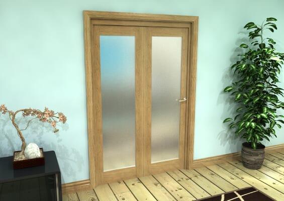 Frosted Glazed Oak Prefinished 2 Door Roomfold Grande (2 + 0 x 610mm Doors)