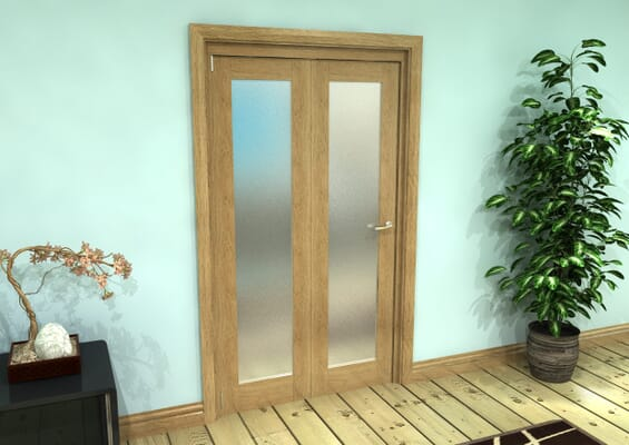 Frosted Glazed Oak Prefinished 2 Door Roomfold Grande (2 + 0 x 686mm Doors)