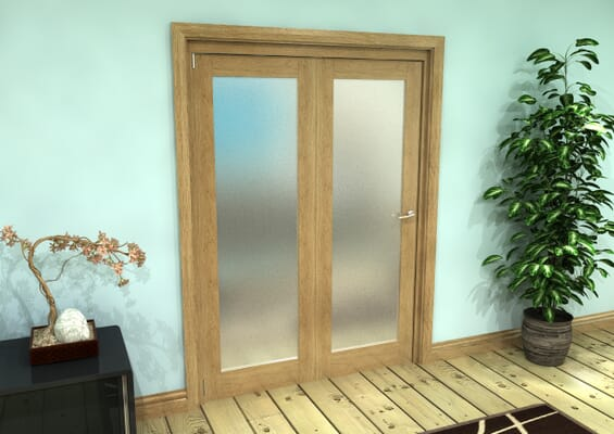 Frosted Glazed Oak Prefinished 2 Door Roomfold Grande (2 + 0 x 762mm Doors)