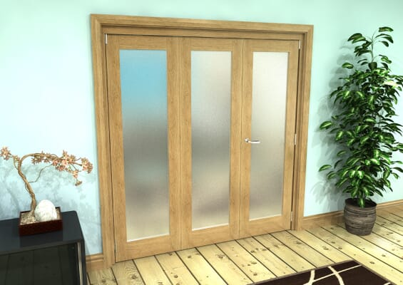 Frosted Glazed Oak Prefinished 3 Door Roomfold Grande (2 + 1 x 610mm Doors)