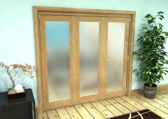 Frosted Glazed Oak Prefinished 3 Door Roomfold Grande (2 + 1 x 686mm Doors)