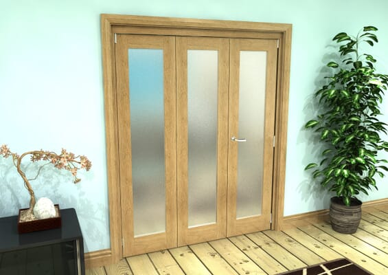 Frosted Glazed Oak Prefinished 3 Door Roomfold Grande (2 + 1 x 762mm Doors)
