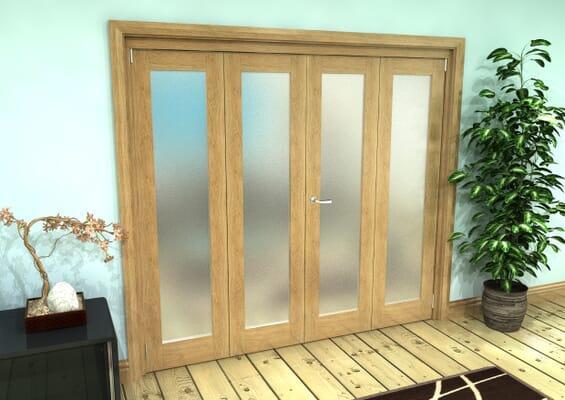 Frosted Glazed Oak Prefinished 4 Door Roomfold Grande (2 + 2 x 381mm Doors)