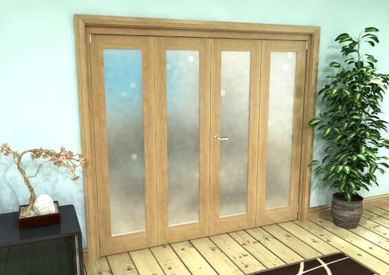 Frosted Glazed Oak Prefinished 4 Door Roomfold Grande 2400mm 2 + 2 Set