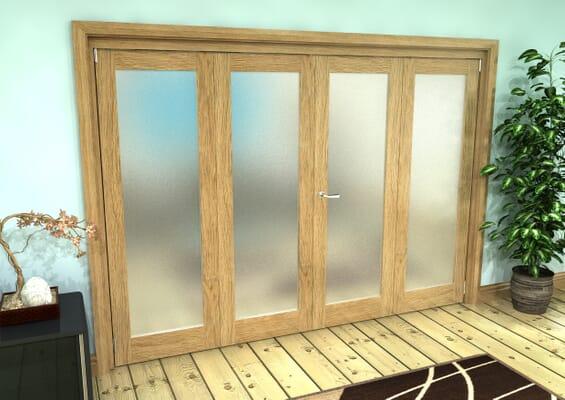 Frosted Glazed Oak Prefinished 4 Door Roomfold Grande (2 + 2 x 686mm Doors)