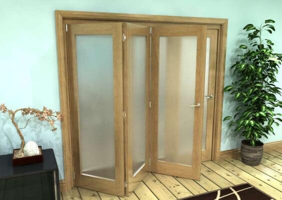 Frosted Glazed Oak Prefinished 4 Door Roomfold Grande (2 + 2 x 762mm Doors)