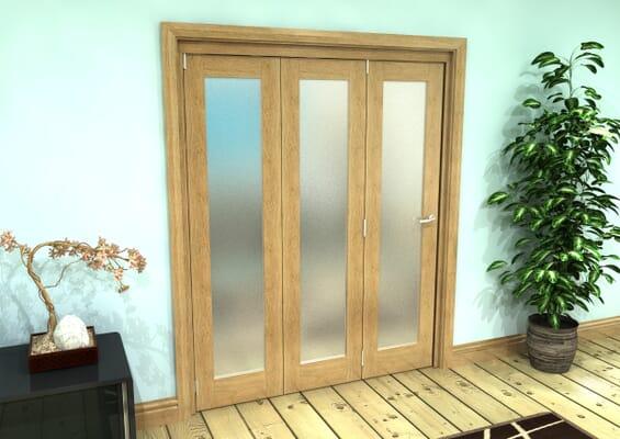 Frosted Glazed Oak Prefinished 3 Door Roomfold Grande (3 + 0 x 381mm Doors)