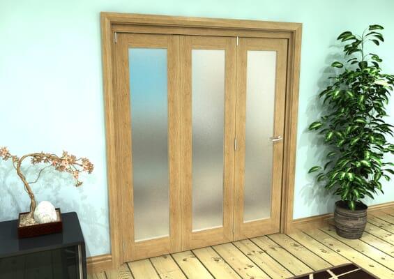 Frosted Glazed Oak Prefinished 3 Door Roomfold Grande 1800mm Set