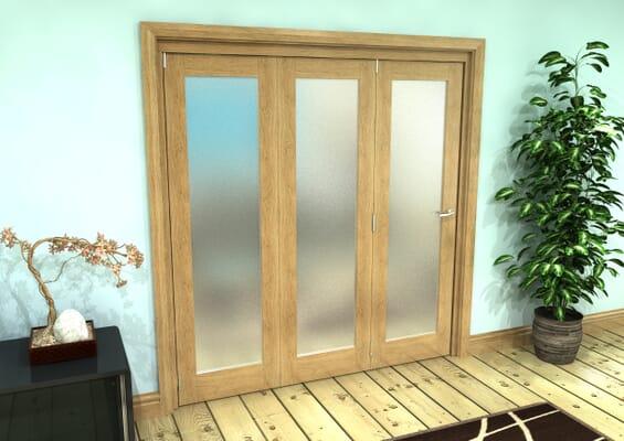 Frosted Glazed Oak Prefinished 3 Door Roomfold Grande (3 + 0 x 610mm Doors)
