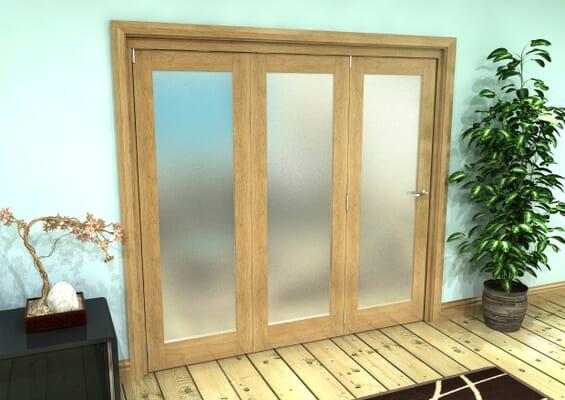 Frosted Glazed Oak Prefinished 3 Door Roomfold Grande (3 + 0 x 686mm Doors)
