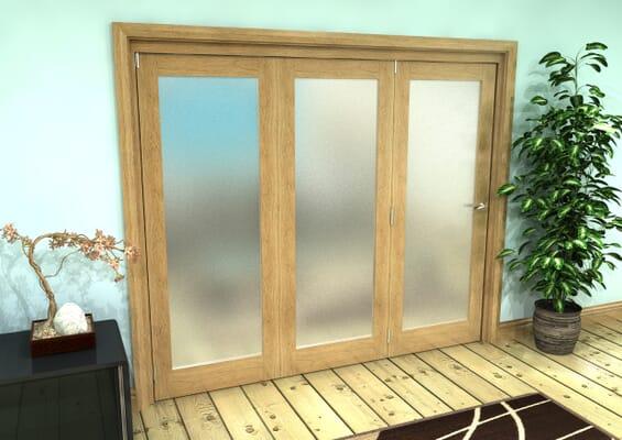 Frosted Glazed Oak Prefinished 3 Door Roomfold Grande (3 + 0 x 762mm Doors)