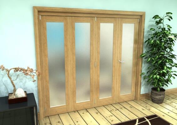 Frosted Glazed Oak Prefinished 4 Door Roomfold Grande (3 + 1 x 381mm Doors)