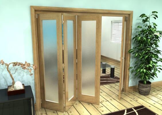 Frosted Glazed Oak Prefinished 4 Door Roomfold Grande 2400mm 3 + 1 Set
