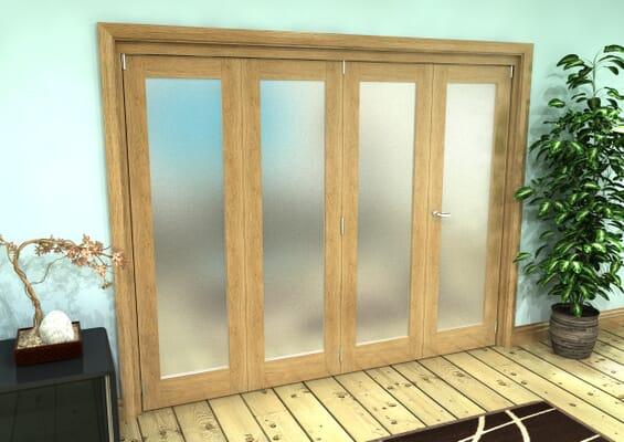Frosted Glazed Oak Prefinished 4 Door Roomfold Grande (3 + 1 x 610mm Doors)