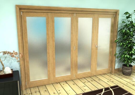 Frosted Glazed Oak Prefinished 4 Door Roomfold Grande (3 + 1 x 686mm Doors)