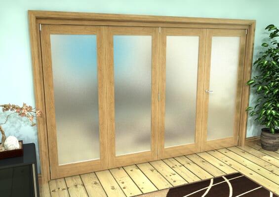 Frosted Glazed Oak Prefinished 4 Door Roomfold Grande (3 + 1 x 762mm Doors)