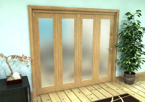 Frosted Glazed Oak Prefinished 4 Door Roomfold Grande (4 + 0 x 381mm Doors)