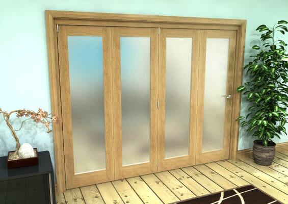 Frosted Glazed Oak Prefinished 4 Door Roomfold Grande (4 + 0 x 610mm Doors)