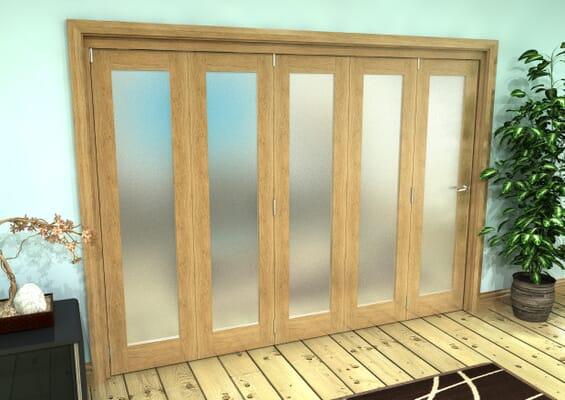 Frosted Glazed Oak Prefinished 5 Door Roomfold Grande (5 + 0 x 381mm Doors)