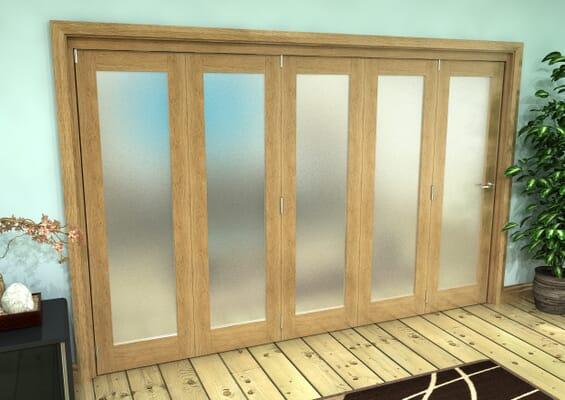 Frosted Glazed Oak Prefinished 5 Door Roomfold Grande (5 + 0 x 610mm Doors)
