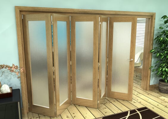 Frosted Glazed Oak Prefinished 5 Door Roomfold Grande (5 + 0 x 686mm Doors)