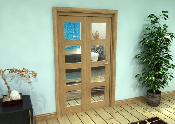 Glazed Oak Prefinished 2 Door 4L Roomfold Grande (2 + 0 x 533mm Doors)