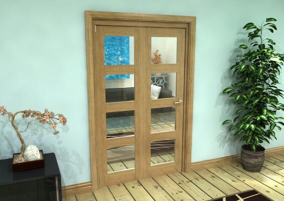 Glazed Oak Prefinished 2 Door 4L Roomfold Grande (2 + 0 x 573mm Doors)
