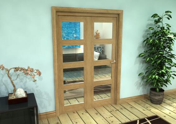 Glazed Oak Prefinished 2 Door 4L Roomfold Grande (2 + 0 x 610mm Doors)