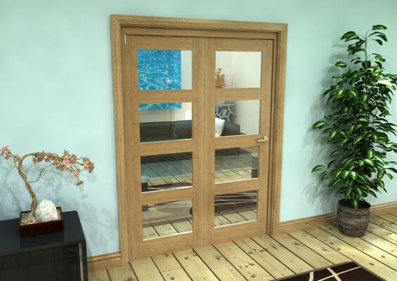Glazed Oak Prefinished 2 Door 4L Roomfold Grande (2 + 0 x 686mm Doors)