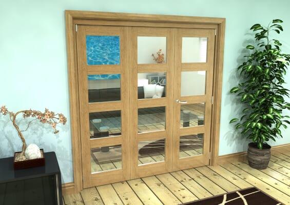 Glazed Oak Prefinished 3 Door 4L Roomfold Grande (2 + 1 x 610mm Doors)