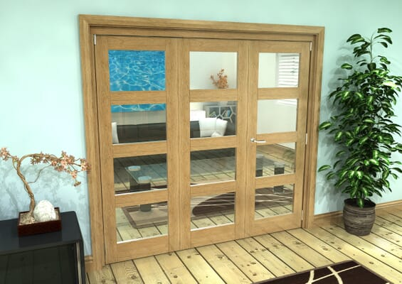 Glazed Oak Prefinished 3 Door 4L Roomfold Grande (2 + 1 x 686mm Doors)