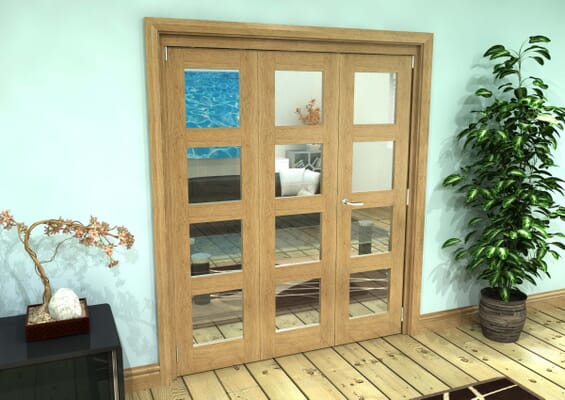 Glazed Oak Prefinished 3 Door 4L Roomfold Grande (2 + 1 x 762mm Doors)